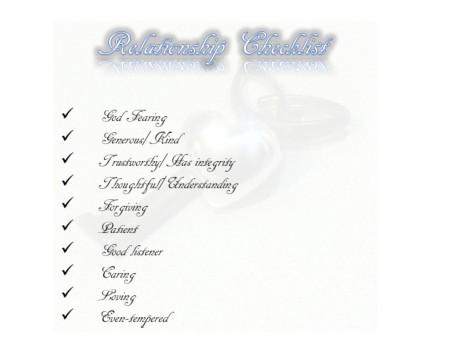 Relationship Checklist Pic